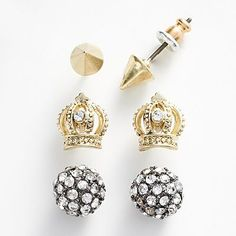 Rock and Republic Two Tone Simulated Crystal Pyramid, Ball and Crown Stud Earring Set