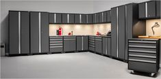 Garage Organization features everything you'll ever need for your garage - cabinets, storage systems, flooring options, wall systems and a whole lot more. Hanging Garage Shelves, Garage Wall Shelving, Overhead Garage Storage, Garage Storage Cabinets, Garage Storage Solutions, Garage Organization, Used Lockers, Steel Garage, Garage Workshop
