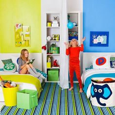 Create a shared space that fosters fun ... and minimizes turf warfare. All it takes is a smart use of color, a curtain, and some cute customized touches.