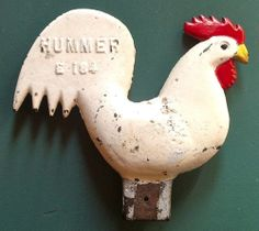 10in x 9in x 2in thick. 9 lbs Antique Primitive Rooster Chicken Cast Iron Windmill Weight  Hummer E 184  Rare