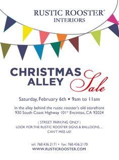 "Hello! On February 6th from 9:00 am to 11:00 am we're having our Coastal ""alley"" SALE! We will be selling furniture {painted and unpainted} and fun finds for the home and garden! Grab your Starbucks coffee and come by to shop... Bring a friend! No joke we are in the alley behind the old rustic rooster storefront. Please share and tell all... xoxo Alexandra"