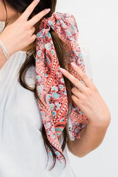 Talk about a multi function hair accessory!Hair scrunchy Neckerchief with Pigtail Hairstyles, Bobby Pin Hairstyles, Headband Hairstyles, Summer Hairstyles, Scrunchies, Ponytail Scrunchie, Hair Scarf Styles, Hair Accessories For Women, Summer Accessories
