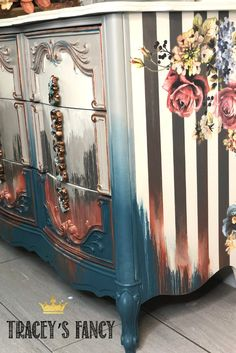 Whimsical Water Washed Furniture Finish Tracey Bellion of Tracey's Fancy applies her lastest techinique to create this stunning water washed dresser perfect for the fall! Chalk Paint Furniture, Hand Painted Furniture, Funky Furniture, Refurbished Furniture, Unique Furniture, Repurposed Furniture, Furniture Makeover, Furniture Decor, Striped Furniture