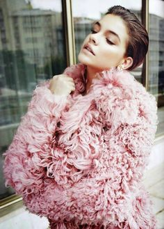 Barbara Palvin // fuzzy textured pink coat #style #fashion #beauty