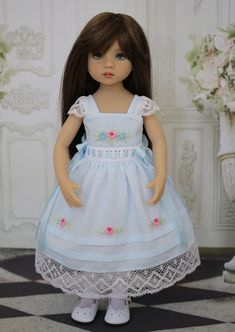 Embroidered Dress Ensemble Effner Little Darling by Doll Heirloom Designs Girl Doll Clothes, Girl Dolls, Baby Dolls, Pretty Dolls, Beautiful Dolls, Disney Animator Doll, Little Darlings, Crochet Dolls, I Love Fashion