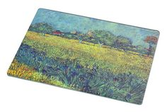 Rikki Knight RK-LGCB-1490 Van Gogh Art View of Arles with Irises Glass Cutting Board, Large, White ** Additional details at the pin image, click it  : Cutlery Knife Accessories