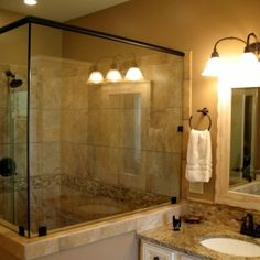 Glass/tile wall can butt up to vanity and other side glass over to perpendicular wall...Bathroom Decorations. Lovable Oak Unstained Vanities Panels With Drawers And Doors Storage And Double Sink Grey Granite Tops Large Bath Mirr...