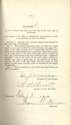 Original Act to Adopt California Bear Flag as State Flag 1903 | Bear Flag Museum