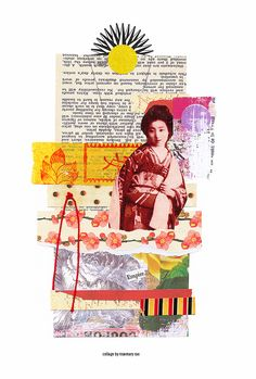 my day 224 collage (empire) :: floral, joss, scrap + cut paper, text, image, stickers; glued.