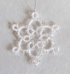 White, Silver Tatted Christmas Tree Decoration - Small