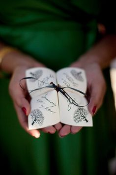 Folded Color Printed Cootie Catcher Wedding Programs