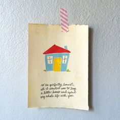 5x7 Little house Print by dearsophiepaperco on Etsy