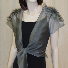 Evening Sheer Jacket with cape sleeves, front tie and detailed shoulder. $148.00, via Etsy.