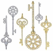 Ziamond Cubic Zirconia Key Pendants in 14k gold.  Ziamond offers a variety of key styles that are exquisitely designed and accented with original Russian formula cubic zirconia that is hand cut and hand polished. #ziamond #cubiczirconia #key #pendant #14kgold