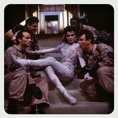 Ghostbusters (1984) Directed by Ivan Reitman. Bill Murray Harold Ramis Dan Aykroyd Ernie Hudson andSlavitza Jovan as Gozer #ghostbusters #ivanreitman #billmurray #haroldramis #danaykroyd #erniehudson #slavitzajovan  #gozer #onset #behindthescenes #whoyagonnacall #1984 by glazyuk