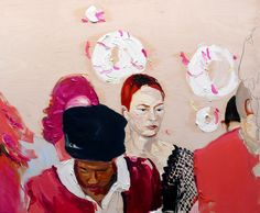 """Judith Geher; """"Across the Aisle"""" 2012, oil and graphite on wood panel 120 x 150 cm"""