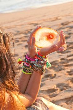 Colorful Friendship Bracelets Boho Arm Candy #bohobaubles #johnnywas
