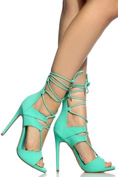 868824110e7d Buy Sea Green Faux Nubuck Lace Up Single Sole Heels with cheap price and  high quality from Cicihot Heel Shoes online store which also sales Stiletto  Heel ...