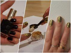 Kultainen peilikiilto pulveri kynsille. Kynsikuvio.