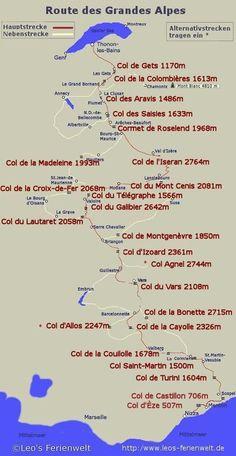 Carte Route des Grandes Alpes - Map of the Route of the Grand .- Carte des Route des Grandes Alpes – Map of the route of the great Alps – - Road Trip France, Road Trip Europe, Road Trip Moto, La Route Napoleon, Rando Velo, Grande Route, Beautiful Roads, European Tour, Touring