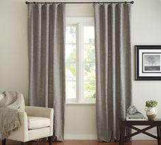 linen drapes & thin black rod