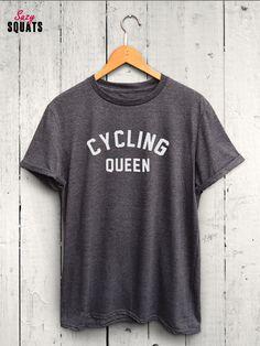 Cycling Queen Tshirt, Cycling Shirt, Biking Shirt, Spinning Shirt, Workout Shirt, Exercise Tshirt, Cycling Tshirt by SuzySquats on Etsy https://www.etsy.com/listing/469610651/cycling-queen-tshirt-cycling-shirt