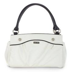 Carlie  Slip Carlie on your Classic Bag and you have the perfect companion for lunch at your favourite cafe or an afternoon of fun on your tropical get-away! Lightly-textured faux leather in pure snowy white features convenient end-pocket design. Sophisticated contrasting black piping and oversized stud accents make this fresh look complete.