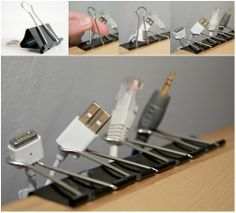 Idea para decorar cables Esconder los cables y decorar la pared. Cómo organizar los cargadores. Imprescindibles en el escritorio. Una mesa d...