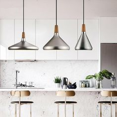 Decorate your home, office, restaurant or shop in modern Nordic style with a stunning matte metallic pendant lamp! Made from aluminum and wood. Kitchen Island Lighting, Dining Room Lighting, Home Lighting, Modern Lighting, Christmas Lights Near Me, Decorating Blogs, Decorating Your Home, Pendant Lamp, Pendant Lighting