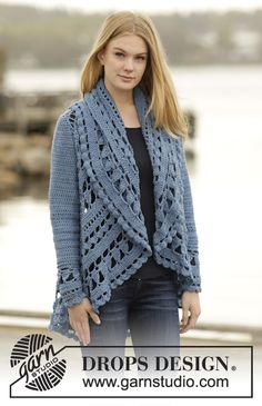 """Crochet DROPS jacket worked in a circle with lace pattern in """"Merino Extra Fine"""". Size: S - XXXL. ~ DROPS Design"""