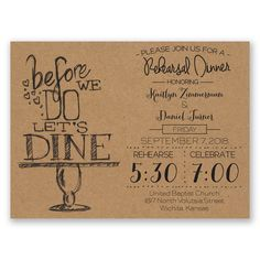 Easily personalized and shipped in a snap! Get guests excited for a fun rehearsal dinner with this stylish typography invitation.