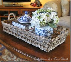 Pottery Barn Inspired Rustic Coffee Table Tray… Love this vignette with the blue and white ♥ Pottery Barn Inspired Rustic Coffee Table Tray… Love this. Coffee Table Vignettes, Coffee Table Centerpieces, Coffee Table Tray, Coffee Table Styling, Rustic Coffee Tables, Decorating Coffee Tables, A Table, Table Decorations, Rustic Table