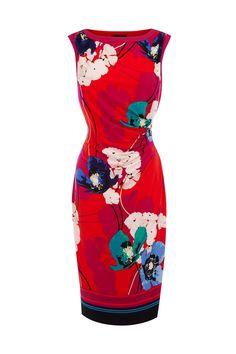 #dress  #idreammart Idreammart Petite Red Spandex Floral Ruched Sleeveless Cocktail Pencil Dress - iDreamMart.com