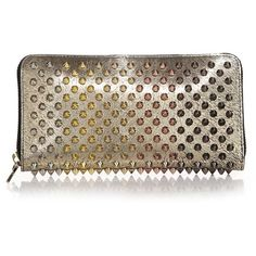 Christian Louboutin Panettone Spiked Leather Wallet ($725) ❤ liked on Polyvore featuring bags, wallets, apparel & accessories, gold, leather bags, real leather bags, brown leather wallet, christian louboutin and leather wallet