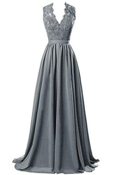 R&J Women's V-neck Open Back Lace Chiffon Floor Length Formal Evening Party Dress Steel Grey Size 8 RJ http://www.amazon.com/dp/B014CXG3CO/ref=cm_sw_r_pi_dp_Bsstwb060VH4R