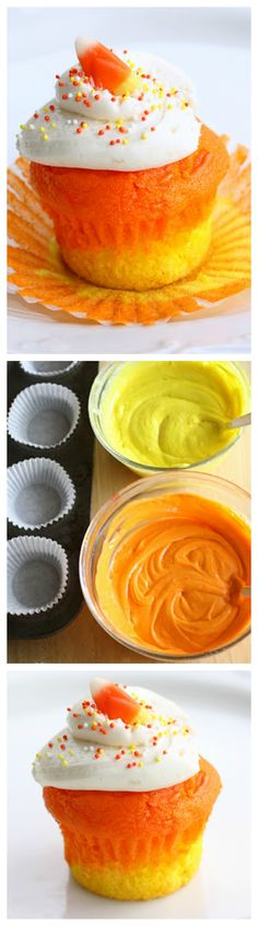 Candy Corn Cupcakes - a doctored cake mix makes these super moist candy corn colored cupcakes. Great for Halloween.