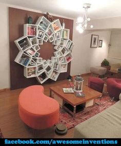 Creative bookshelf that would be great for game storage in your game room/family room!