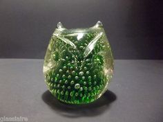 Vintage MURANO Art Glass OWL Paperweight CONTROLLED Bubbles GREEN