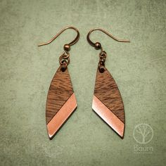 Wooden Jewelry Wooden EarringsWalnut & Copper Earrings