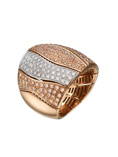 The Marli Collection ~ A 18k rose gold ring set with white and brown diamonds by Padani