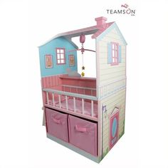 Teamson Kids Pink Baby Nursery Doll House ($227) ❤ liked on Polyvore featuring home, children's room and pink