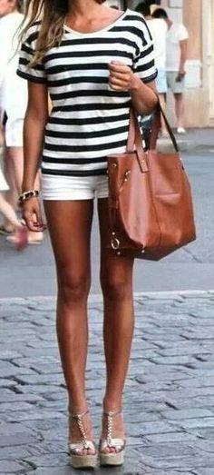 Striped Shirt + White Shorts