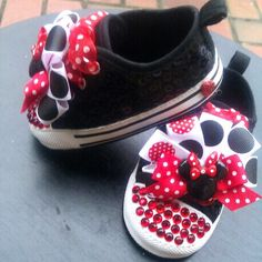 so fun, makes me want to plan a trip to Disneyland just so she can wear them hehe  http://www.etsy.com/listing/93510804/minnie-mouse-rhinestone-bling-crib-shoes