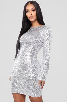 08cb7522 Sequin Midi Dress, Silver Sequin Dress, Long Sleeve Midi Dress, Silver  Party Dress