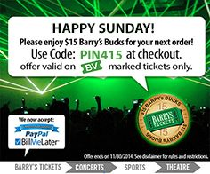 Happy Sunday! Please enjoy $15.00 Barry's Bucks on us. Use PIN415 at checkout of www.barrystickets.com on your next order.   Great for #Dodgers #Angels #Lakers #Clippers #LAKings #NHLDucks and Concert, Sports and Theater Tickets!