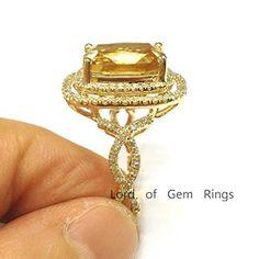 $1,088 Cushion Citrine Engagement Ring Pave Diamond Wedding 14K Yellow Gold,9x11mm