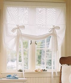 Window Toppers Striped Semi-Sheer Tie-Up Curtain - Country Curtains Tie Up Curtains, Curtains With Blinds, Window Curtains, Striped Curtains, Country Curtains Catalog, Window Coverings, Window Treatments, Rideaux Shabby Chic, Window Toppers