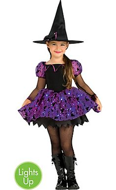 girls light up moonlight magic witch costume - Witch Halloween Costumes For Girls