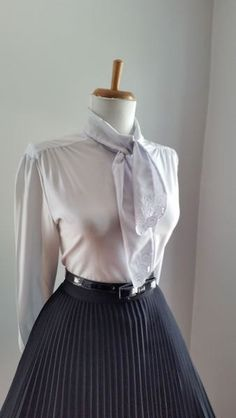 Vintage Sexy 1950s 1960s Light Gray Button Down Long Sleeve Blouse w Ascot Tie Neck by bluebarnvintage on Etsy