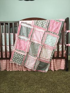 Baby Girl Crib Bedding - Simply Precious - Gray and Baby Pink